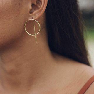 Golden Monstera Ponu Gold Plated Brass Hoop Earrings ✨ Reversible Gold Hoop & Line Earrings Hand Made in Siargao