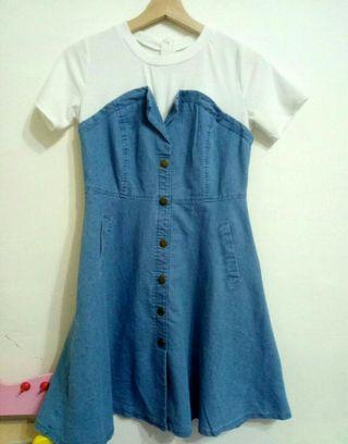 夏季韓風假兩件丹寧淺藍牛仔拼接洋裝S. M🉑假口袋