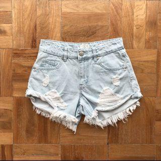Cotton On Mid Saturday Frayed Denim Shorts