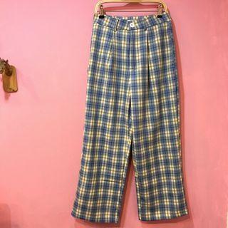 [彩色櫥窗]可繫腰帶清新水藍色格子修身百搭格子長褲