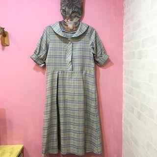 [彩色櫥窗]優雅翻領可愛配色格子娃娃袖為腰身短袖長洋裝