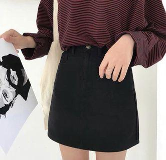 [INSTOCK] Black A Line Denim Skirt