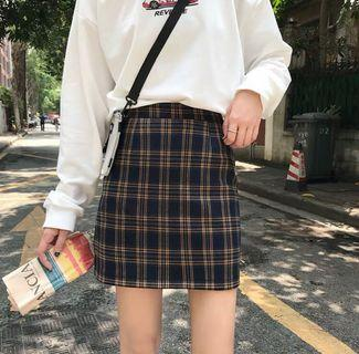 Vintage Checkered A line Skirt