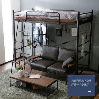 鐵藝高架床 (烤漆黑)(節省空間)