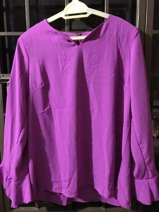 Palazo and blouse suit - purple color with frills