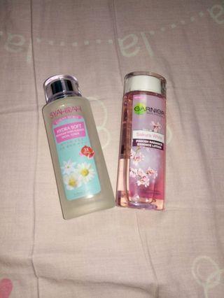 Garnier Sakura White Essence and Syahirah Toner