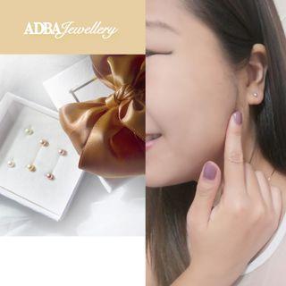 一套三色4A級高光淡水珠925銀耳環