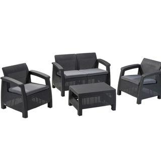4pc Dark Grey Keter Corfu Outdoor Seating Set with free cushions