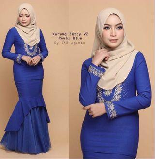 Royal blue modern kurung