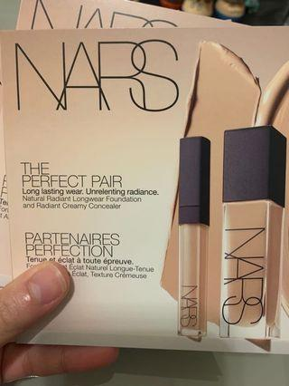 Nars natural radiant long wear Foundations and creamy concealer
