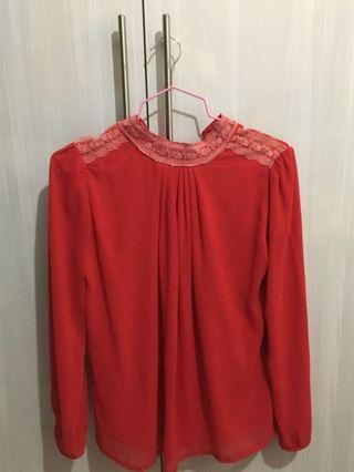 Bright Red Blouse with Neck Details