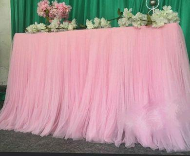 Pink tutu table skirting for rent
