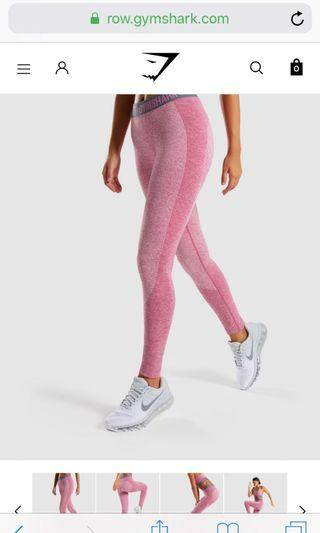 GYMSHARK WOMENS  FLEX LEGGINGS  DUSKY PINK MARL/CHARCOAL