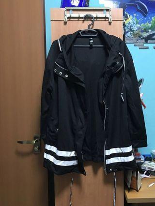 Black Striped Bomber Warm Jacket