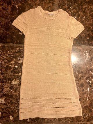 Beige Casual Knee Length Dress