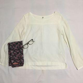 Uniqlo white blouse #maudandan