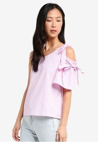 ZALORA Pink White One Shoulder Top with Ties