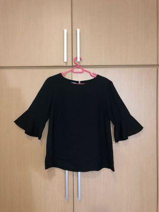 Black Bell Sleeves Top