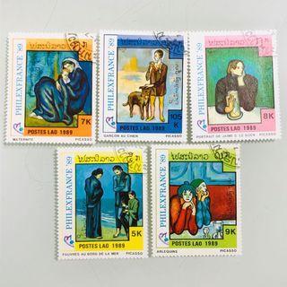 1989 年 珍藏外國郵票 蓋銷 畢加索 法國藝術名畫系列郵票 全套 5 枚  PHILEXFRANCE 89 Picasso Famous Paintings Stamps
