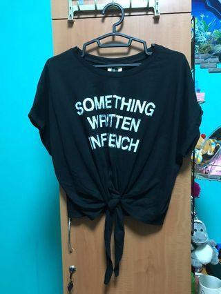 """""""Something Written In French"""" Black Crop Top with Front Tie"""