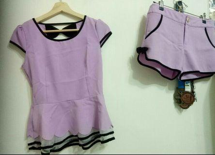 韓版《全新》M號套裝紫色蝴蝶結拼接蕾絲