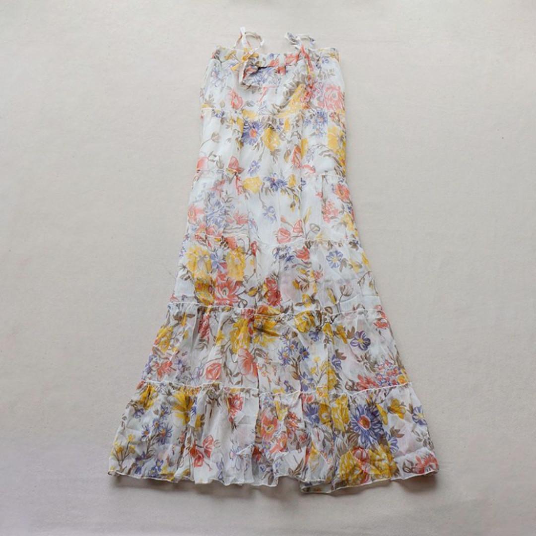 夏日必備二穿雪紡花花裙 可當長裙也可當洋裝穿