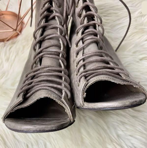 Aldo sz 41/US10 brown leather women shoes heels boots lace up winter lagenlook