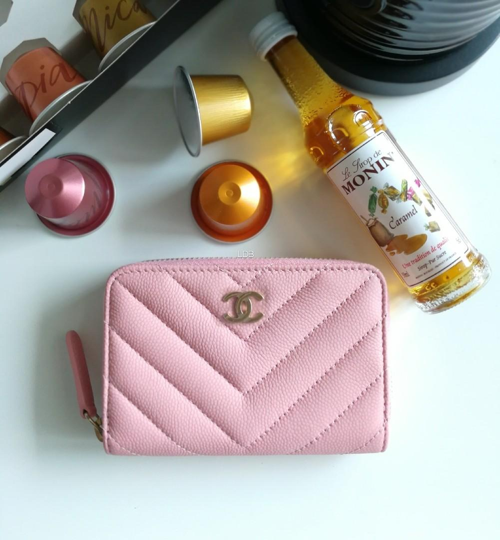 Authentic Chanel Classic Chanel Classic Pink Caviar Chevron Light Gold Hardware Small Wallet / Coins Purse / Card Holder
