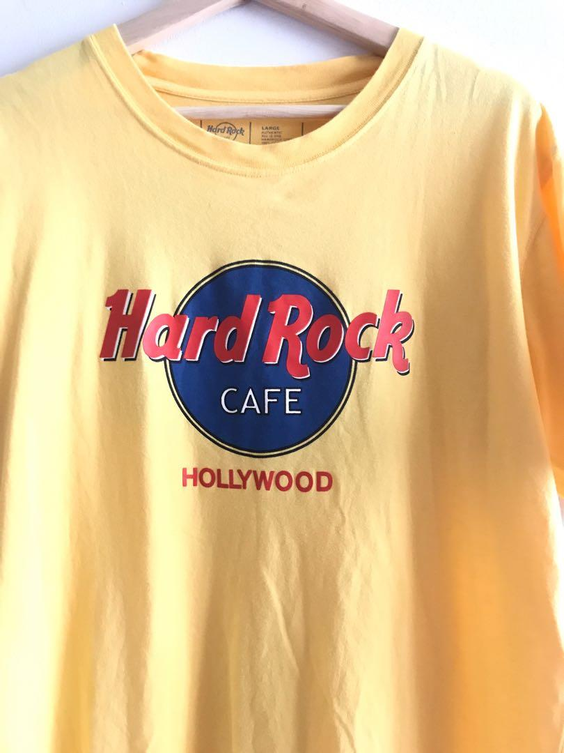 Authentic Hard Rock Cafe Hollywood Yellow Circle Graphic Logo Vintage Tee