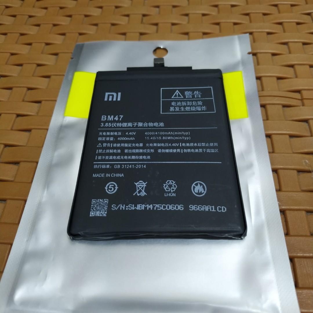 Baterai Xiaomi redmi 3/3S/4X BM47 original 100%