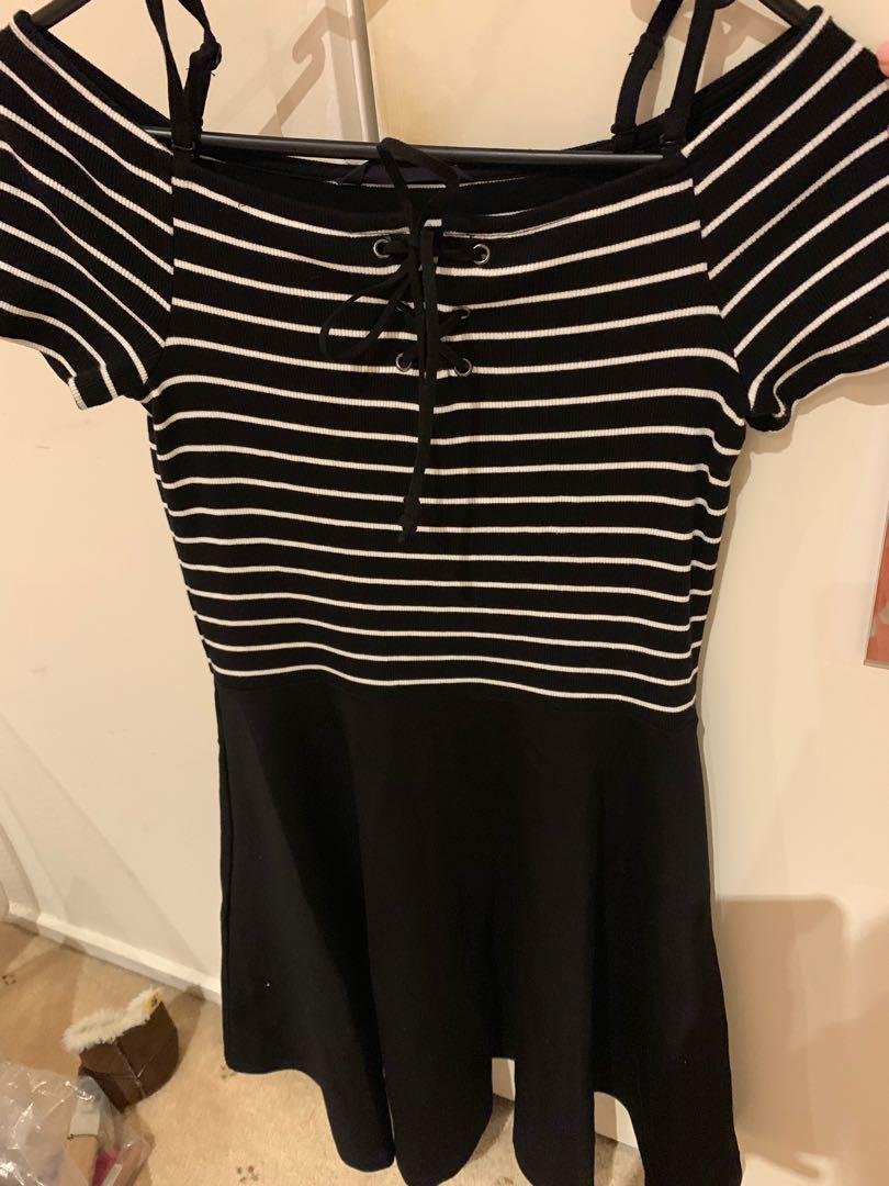 Brand new Black and white stripe dress size XS-S size 6-8