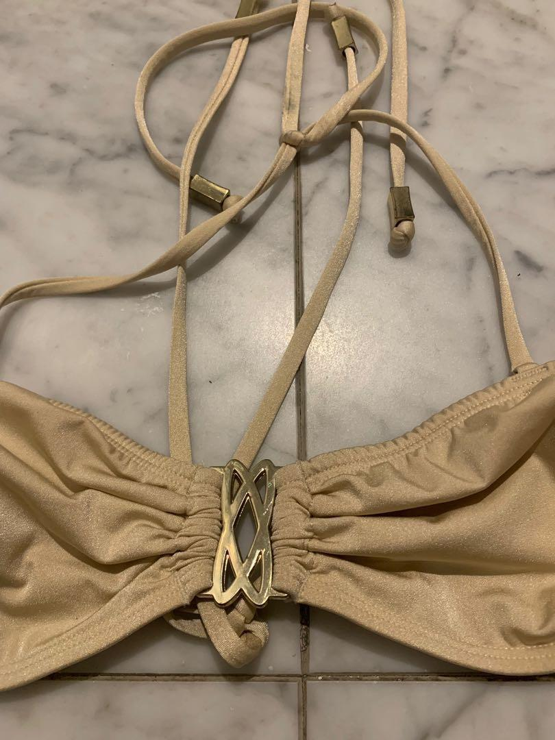 Champagne bikini with gold detailing US size 8 EUR 38