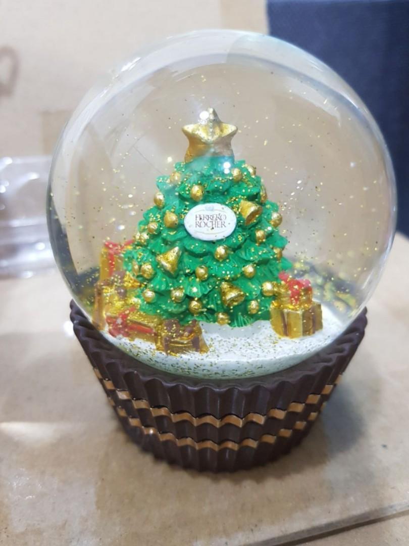 Vintage Christmas Snow Globes.Ferrero Rocher Christmas Snow Globe