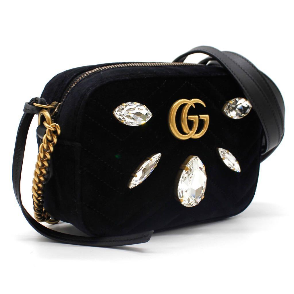 GUCCI Velvet Matelasse Marquise Crystals Mini GG Marmont Bag