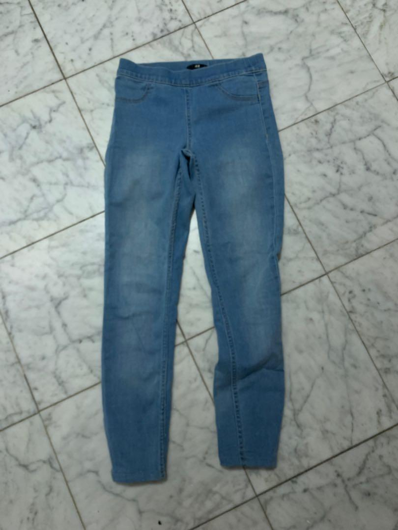 h&m pale blue skinny high waisted jeans XXS size EUR 32