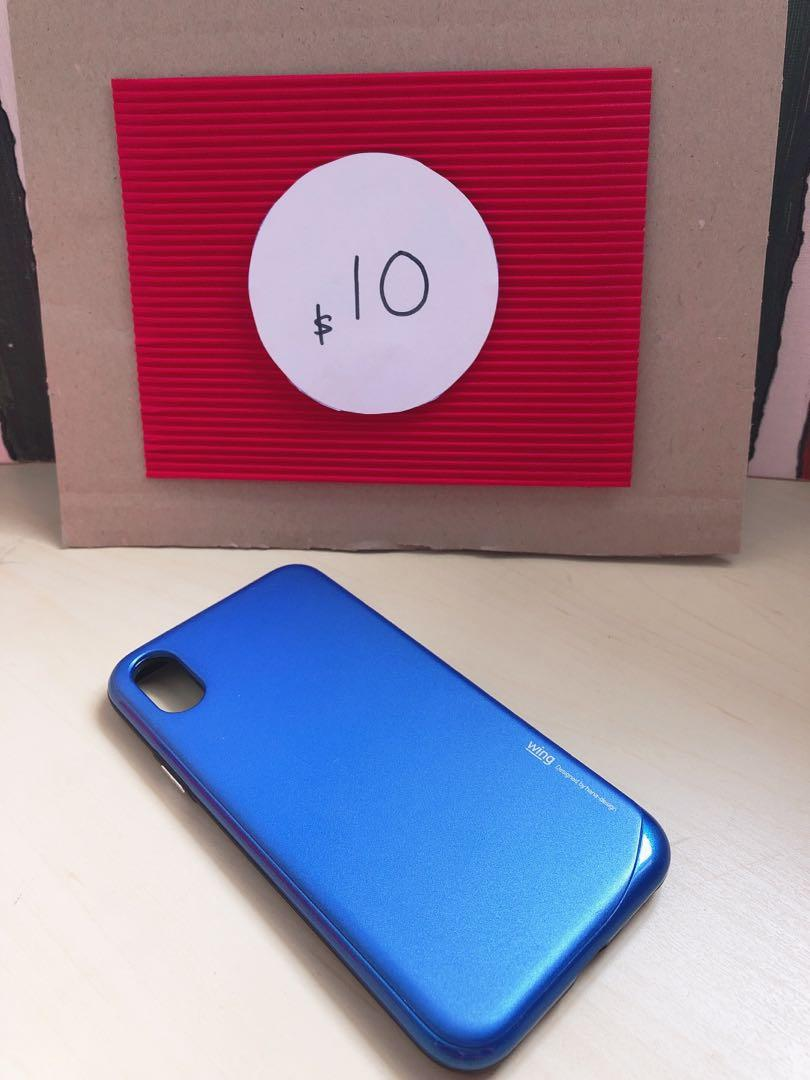 iPhone X Phone Case - Blue with card holder compartment