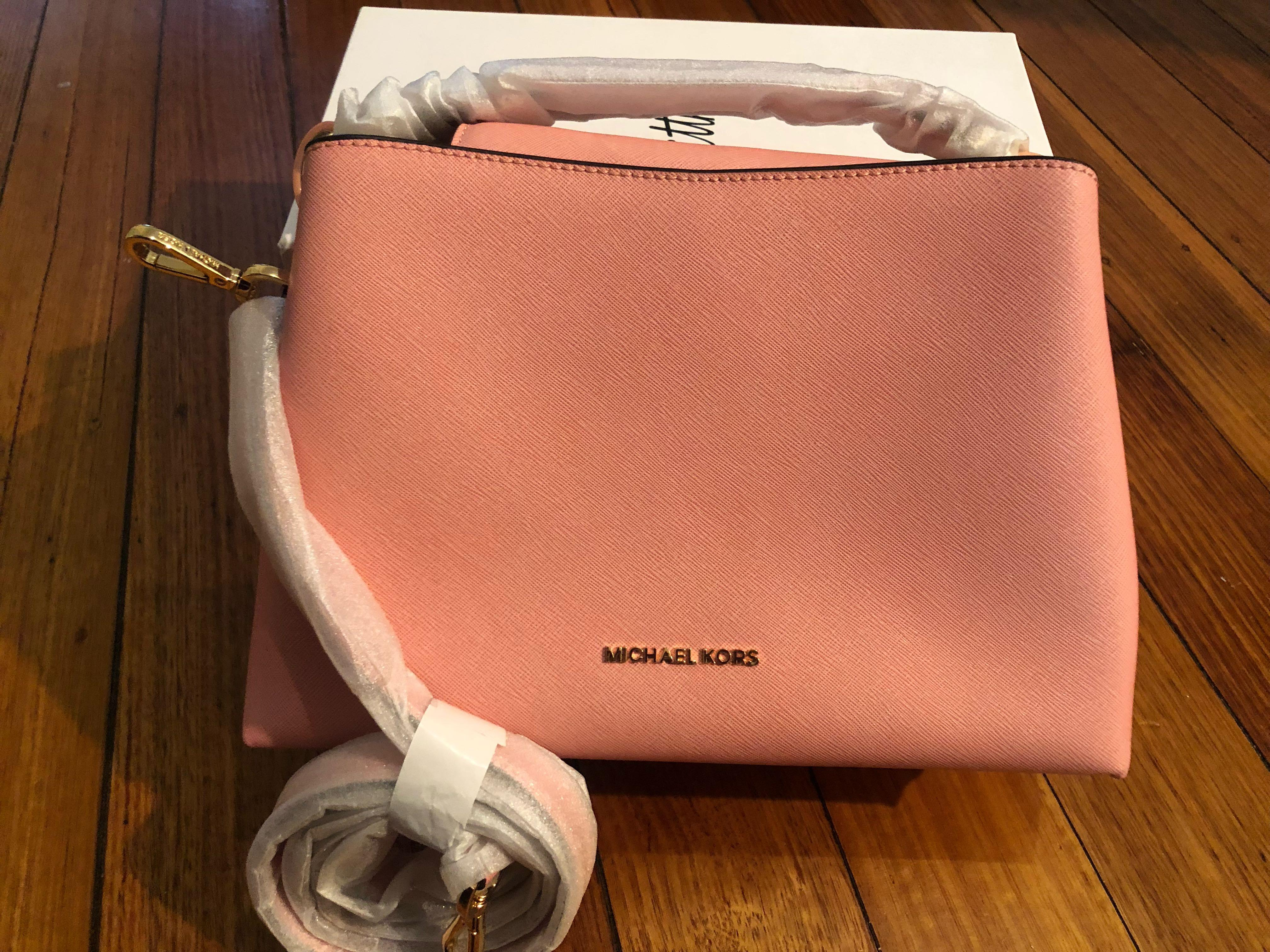 Michael Kors Portia Saffiano Leather Small Shoulder bag in pink