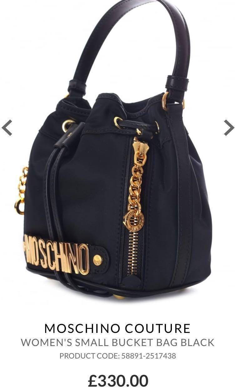 MOSCHINO COUTURE JEREMY SCOTT BLACK BUCKET BAG PURSE