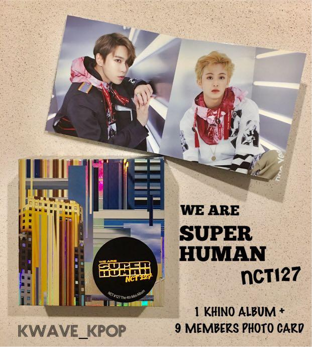 ✨NCT127✨ WE ARE SUPER HUMAN 4th Mini Unsealed Album - 1 KHINO ALBUM + 1 SET ACCORDIAN PHOTO CARD WITH 9 MEMBER