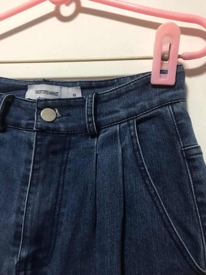 TEM Nevata Wide Leg Dark Denim Pants Highwaisted Jeans