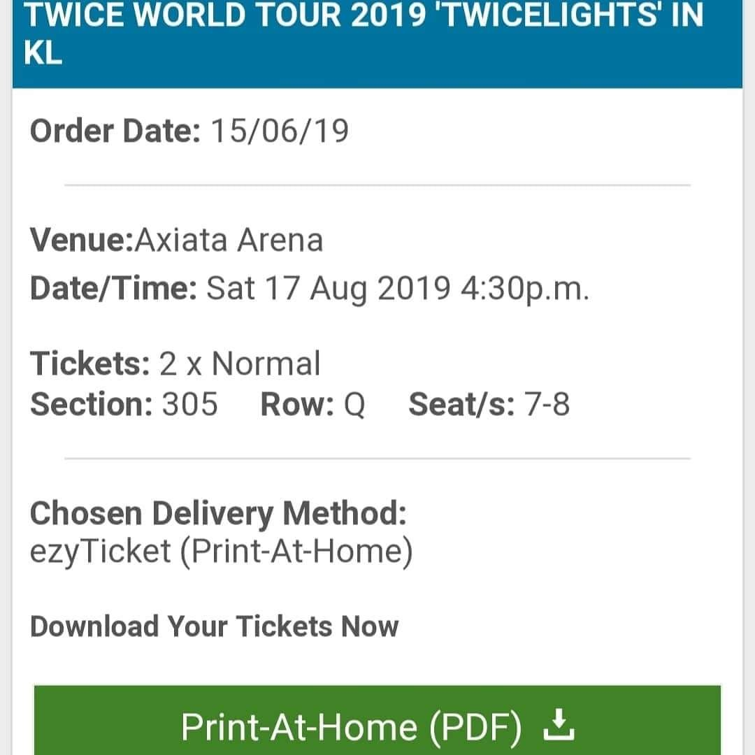 Twice concert e-ticket (VIP)