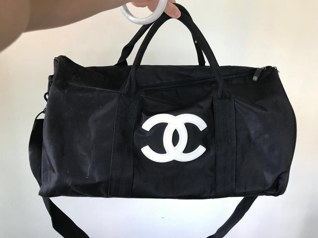 Used Chanel Beaute Duffle Travel Sling Two Way hand carry bag