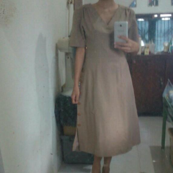 Vintage midi dress / dress korean look murah