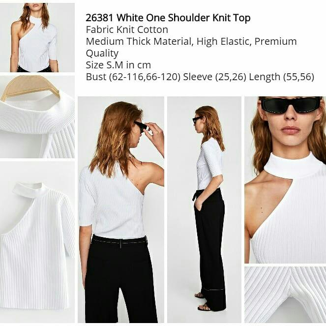 White One Shoulder Knit Top