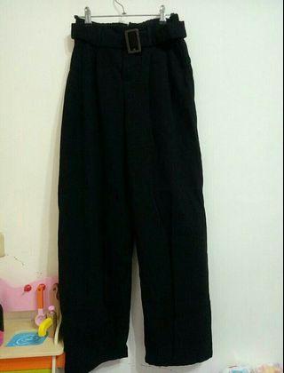 黑色高腰落地寬褲牛仔材質/S. M鬆緊腰🈶皮帶