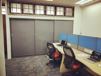 Lavendar MRT linked commercial office with new work station, chairs, big cabinet