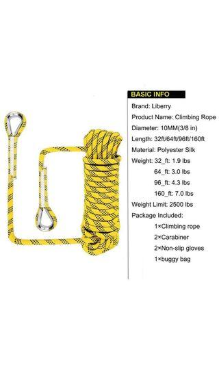 Liberry Outdoor Static Rock Climbing Rope,10 mm(3/8 in) Diameter, Fire Escape Safety Rescue Rappelling Rope with Carabiner: 64ft.
