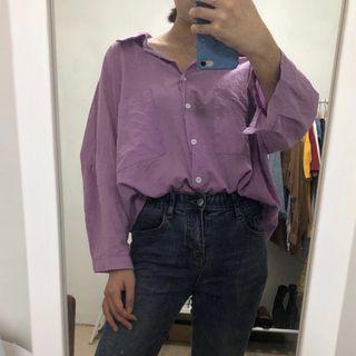 🚚 韓版紫色襯衫💜