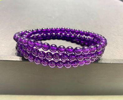 紫水晶 帝王紫108顆佛珠三圈手鏈