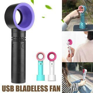 🚚 Portable Handheld Bladeless 2000mAh Cooling Bladeless Fan USB Mini Fan Desktop Bladeless Fan Rechargeable Fan Macoron Colour